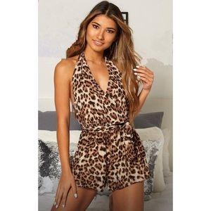 Leopard print halter backless jumpsuit NWT